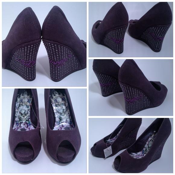 722334b5abd Ed Hardy shoes Sz 5 Love Kills Slowly Purple Wedge
